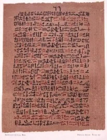 Figure 26 : une page du papyrus d'Ebers