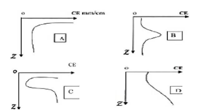 Figure 3. (A, B, C, D). Les différents types de profils salins (Servant, 1976)