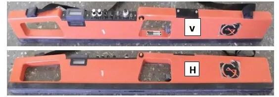 Figure 6. Conductivimètre électromagnétique EM-38 en mode vertical (V) et horizontal (H)