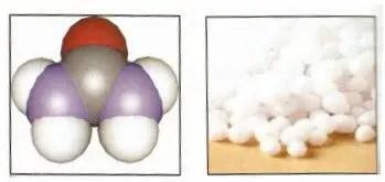 (شكل )1أ حبيبات اليوريا ، ب الشكل الفراغي لجزيء اليوريا .الشحات 2007