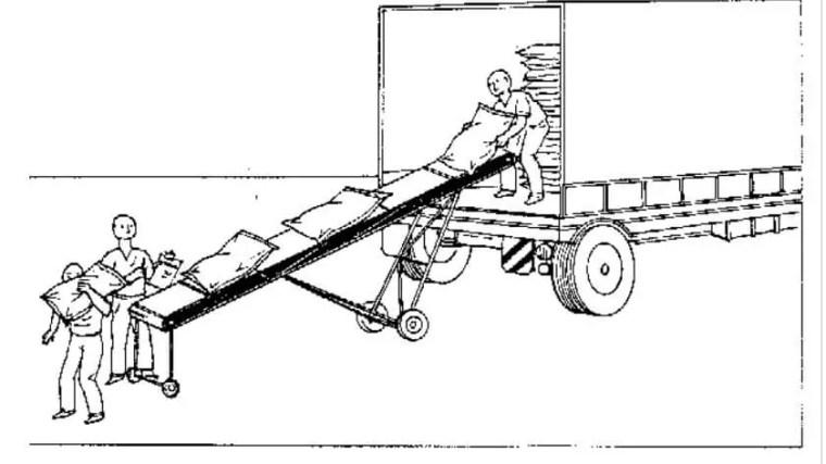 التنزيل عن طريق استخدام السيور الناقلة كما هو موضح بشكل