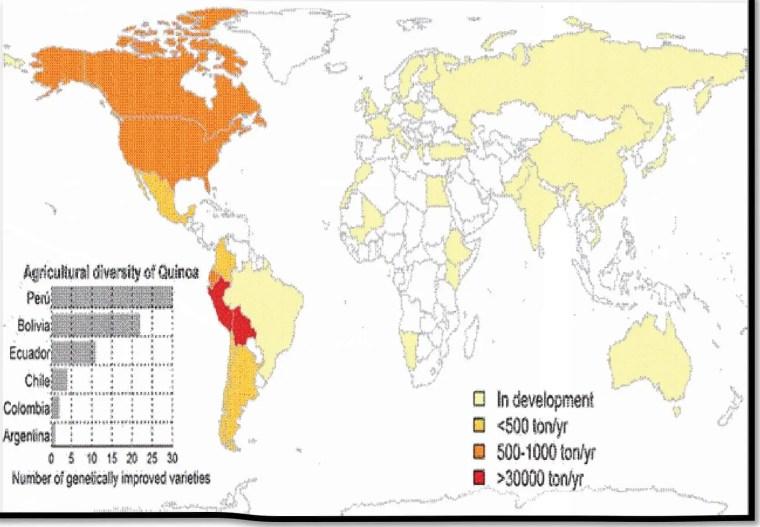 صورة 1: التوزيع الجغرافي لنبات الكينوا في العالم ( 2011,FAO ).