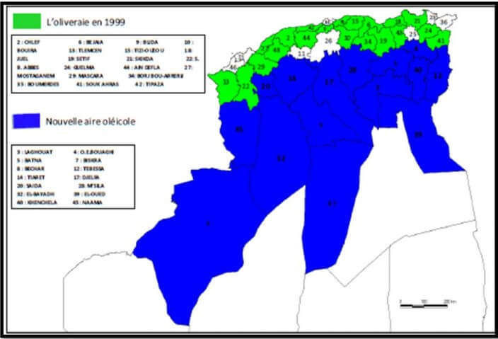 شكل :02خریطة زراعة أشجار الزیتون . Olea europeae Lفي الجزائر.