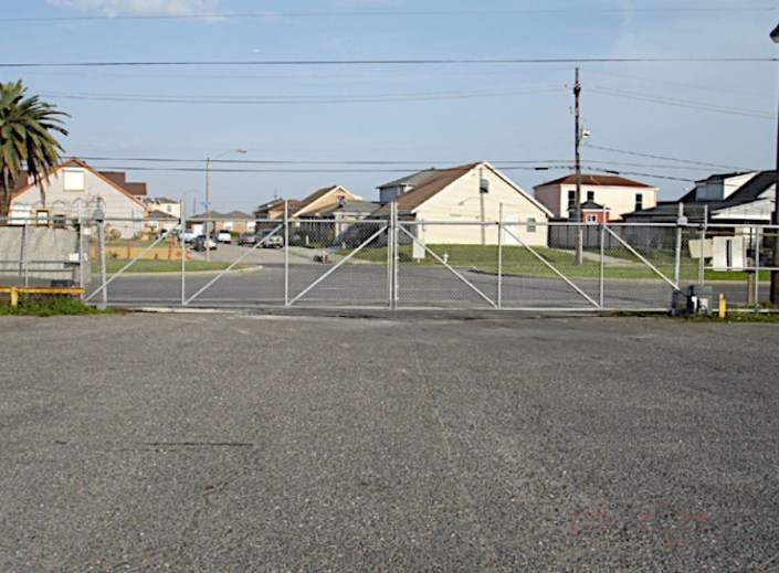 Sliding Chain Link Fence on Almonaster Avenue in New Orleans.