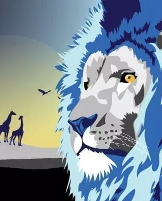 Royal Blue Lion Poster