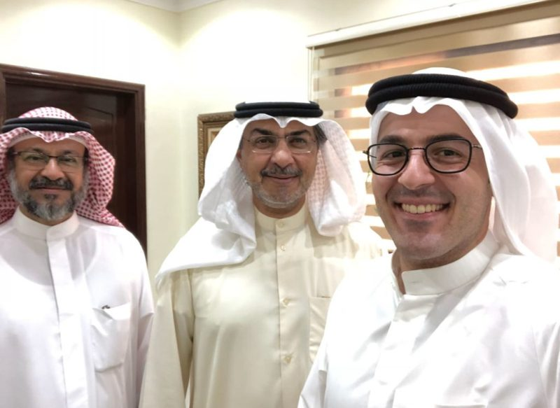Jassim Al-Awadhi with the chairman of the Public Authority for Roads and Transportation, engineer Saud Al Naki, and Chief Engineer Mamdoh Al Enezi.