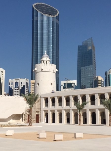 Qasr Al Hosn against the backdrop of high-rise buildings (Ambassador Marcelle M. Wahba)