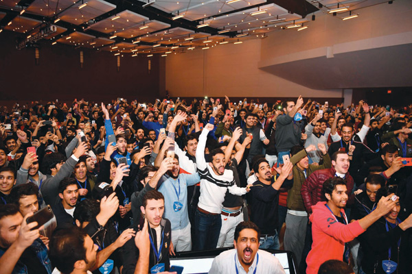 Students celebrating their party's victory in the 34th Annual Convention of the National Union of Kuwaiti Students in the United States in Atlanta, Georgia November 2017, (Photo by Feryal Hammad, Alanba Newspapers)
