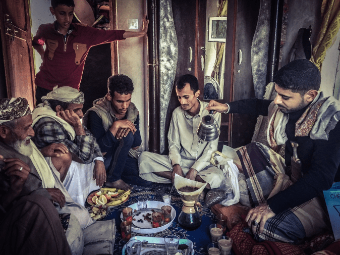 Mokhtar with farmers from Atma, Dhamar Governorate, Yemen (Provided by PortofMokha)