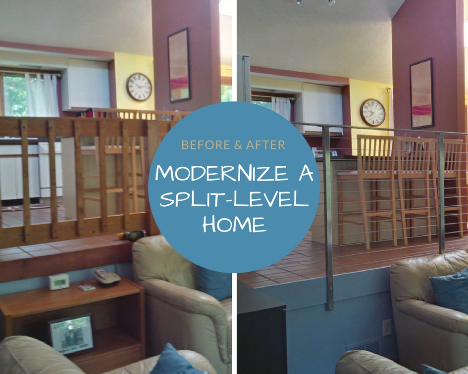 Before And After Modernize A Split Level Home Agsstainless Com   Split Level Stair Railing   Electrical Conduit   Wood   Julia   Entryway   Tri Level