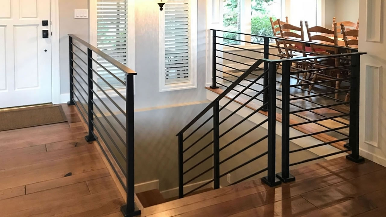 Olympus Horizontal Bar An Industry First Free Estimate | Modern Horizontal Stair Railing | Really Thin | Interior | Cast Iron | Cable | Elegant