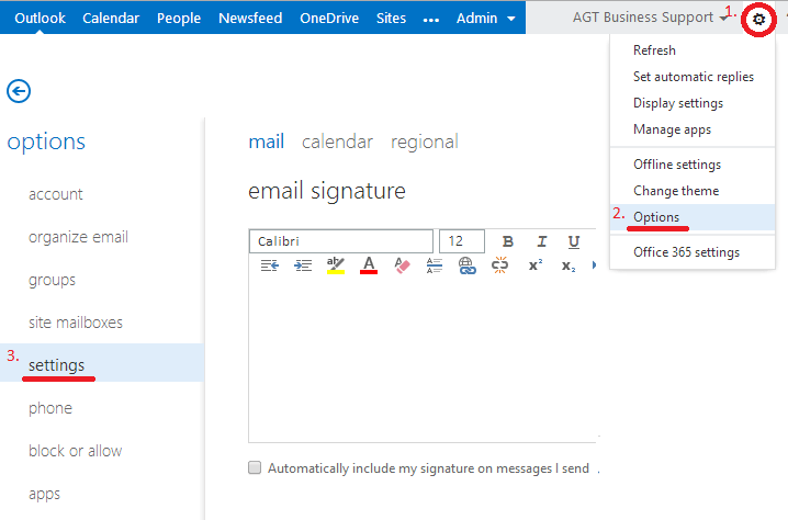 how to create signature in office 365