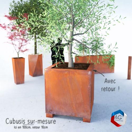 bac corten a plantes et pots de fleurs