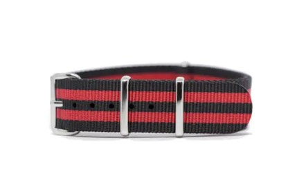 18mm black and red nylon watch strap
