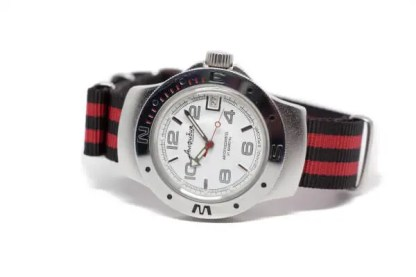 18mm black and red nylon watch strap on a watch