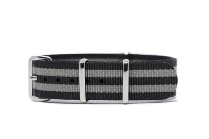 18mm black and gray striped nylon watch band