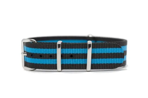 18mm black and blue nylon watch strap