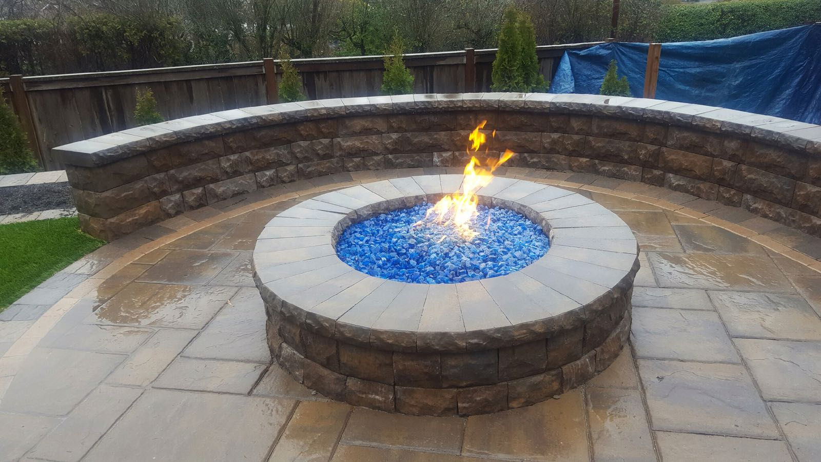 Paver Fire Pit Patio And Sitting Wall - Expert Paver Company on Pavers Patio With Fire Pit id=87481