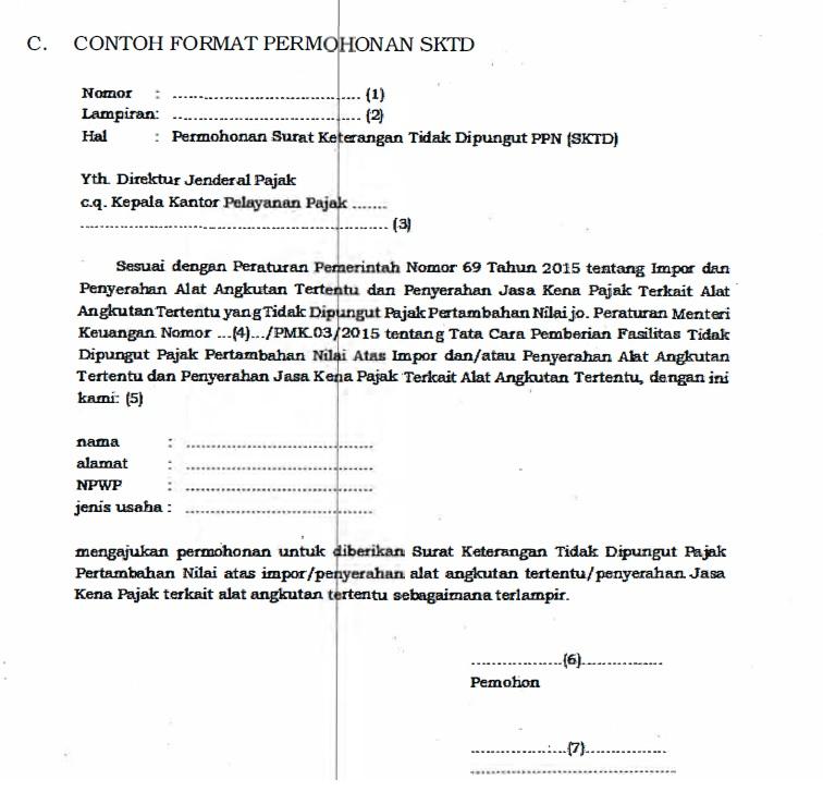 Contoh format permohonan SKTD