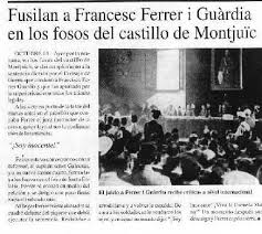Noticia del fusilamiento de Ferrer i Guardia
