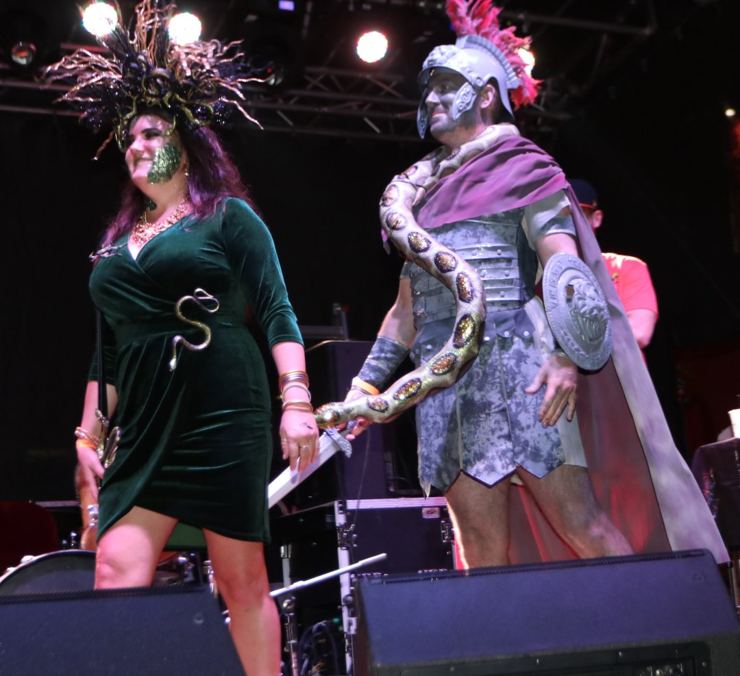 Medusa and Stone shaped like a Roman Solider  at Moonfest 2019 Costume Contest (photo by: Mike Jalches)