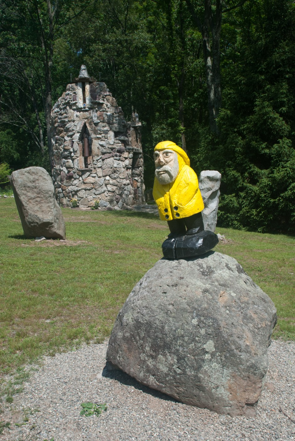 Captain Ahab of Ahab's Adventures outside St. Oran Bell Tower at Columcille Megalith Park in Pennsylvania 2015