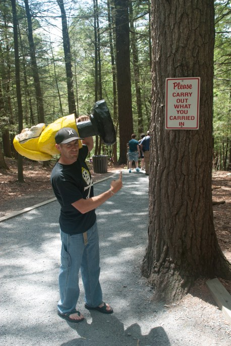Captain Ahab of Ahab's Adventures and Geeg laughing at obvious signs at Bushkill Falls in the Delaware Water Gap National Recreational Area of Pennsylvania 2015