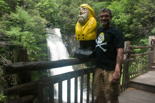 Captain Ahab of Ahab's Adventures and long time crew member Todd at Bushkill Falls in the Delaware Water Gap National Recreational Area of Pennsylvania 2015