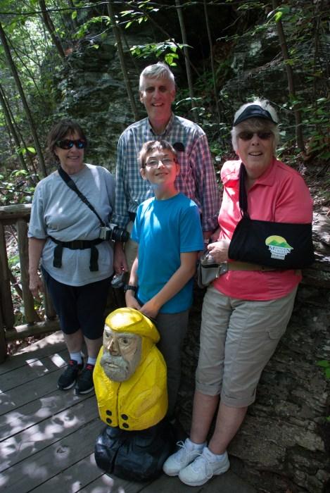 Captain Ahab of Ahab's Adventures always getting laughs at Bushkill Falls in the Delaware Water Gap National Recreational Area of Pennsylvania 2015