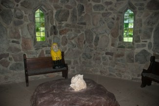Captain Ahab of Ahab's Adventures inside St. Columba Chapel at Columcille Megalith Park in Pennsylvania 2015
