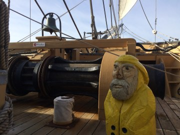 Captain Ahab of Ahab's Adventures visiting Mystic Seaport in Connecticut 2015