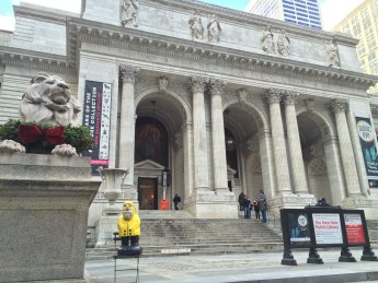 Captain Ahab of Ahab's Adventures outside the New York Public Library in NYC 2015