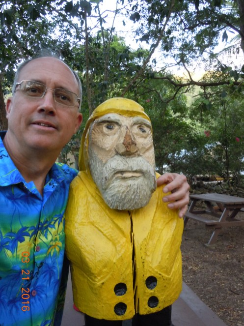 Captain Ahab of Ahab's Adventures making friends while at VIERS on St. John U.S. Virgin Islands 2016
