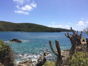 Captain Ahab of Ahab's Adventures hiking to Yawzi Point on St. John U.S. Virgin Islands 2016