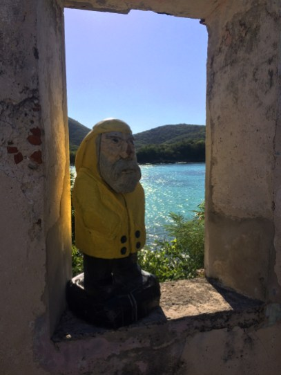 Captain Ahab of Ahab's Adventures looking at Little Lameshur Bay from the ruins on St. John U.S. Virgin Islands 2016