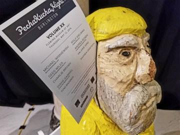 Captain Ahab of Ahab's Adventures speaking at the Fleming Art Museum on the UVM Campus in Burlington Vermont in 2016