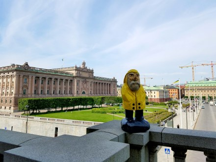 Captain Ahab of Ahab's Adventures viewing the view from The Royal Palace in Stockholm Sweden 2016