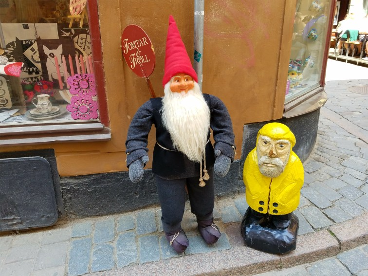 Captain Ahab of Ahab's Adventures making friends with the trolls of Old Town in Stockholm Sweden 2016