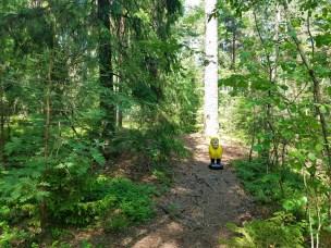 Captain Ahab of Ahab's Adventures wondering off the main path inside Hagaparken in Stockholm Sweden 2016