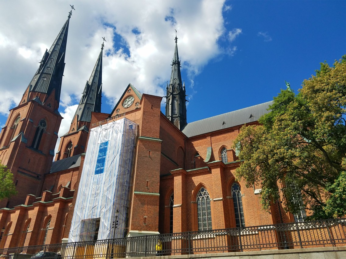 Captain Ahab of Ahab's Adventures viewing Uppsala Cathedral in Uppsala Sweden 2016