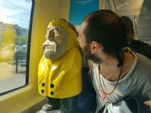 Captain Ahab of Ahab's Adventures making friends on the train from Uppsala Sweden 2016