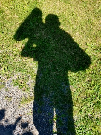 Captain Ahab of Ahab's Adventures checking out his own shadow in Djurgarden in Stockholm Sweden 2016