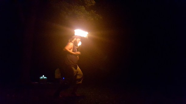 Captain Ahab of Ahab's Adventures watching our surprise Fire Spinners 2016