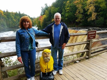 Captain Ahab of Ahab's Adventures making friends at Upper Tahquamenon Falls in the Upper Peninsula Michigan 2016