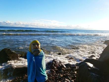 Captain Ahab of Ahab's Adventures skinny dipping in Lake Superior Michigan 2016