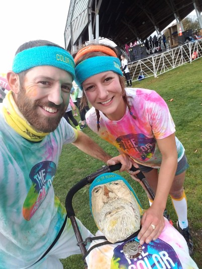 Captain Ahab of Ahab's Adventures pulling his weight at the Color Run in Bridgeport Connecticut 2016