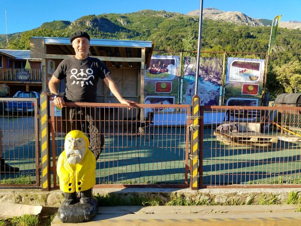 Captain Ahab of Ahab's Adventures making new friends in Futaleufu Chile 2017