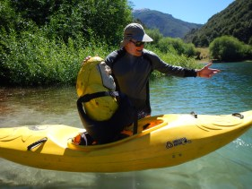 Captain Ahab of Ahab's Adventures getting kayak lessons from Chris Spelius Futaleufu Chile 2017