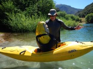 Captain Ahab of Ahab's Adventures getting kayak lessons from Chris Spelius Futaleufu Chile 2017