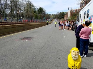 Captain Ahab of Ahab's Adventures waiting for the Boston Marathon to get underway in Boston Massachusetts 2017
